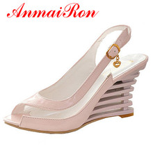 все цены на ANMAIRON Wedge Heel Sandals Buckle Style Open Toe Shoes transparent Women Summer Shoes Patent PU Sexy Summer Brand Shoes Woman онлайн