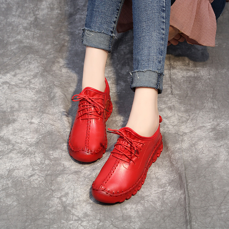 2018 Summer Soft Bottom Ladies Casual Shoes Large Size Genuine Leather White Red Women Shoes with