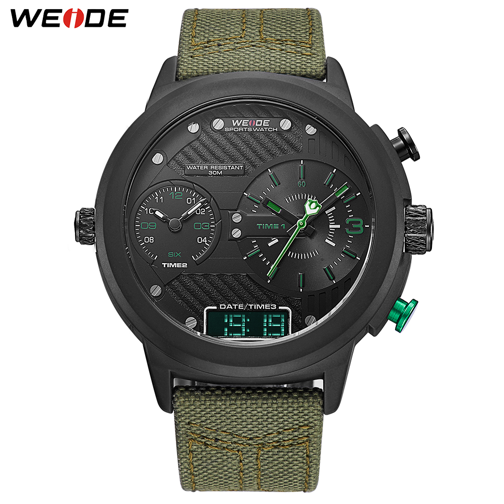 WEIDE Men's Watches Nylon Strap Clock Wristwatch Quartz Calendar Multiple Chronograph Erkek Kol Saati Relogio Masculino for man