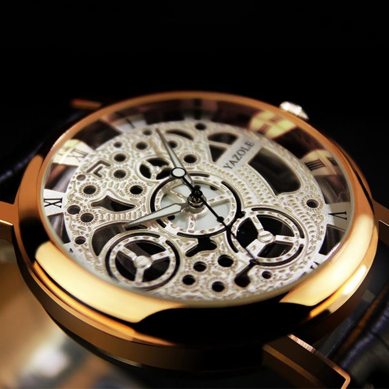 fc5f49c0265 YAZOLE Mens Relógios Top Marca de Luxo Relógios Homens Relógio Relógio dos  homens Ocos de Couro Esqueleto Relógio erkek kol saati montre homme em  Relógios ...
