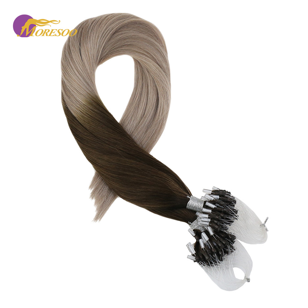 Moresoo Micro Loop Hair Extensions Ombre Color Brown #4 Fading To Ash Blonde #18 Real Remy Brazilian Beads Extensions 1G/1S 50G
