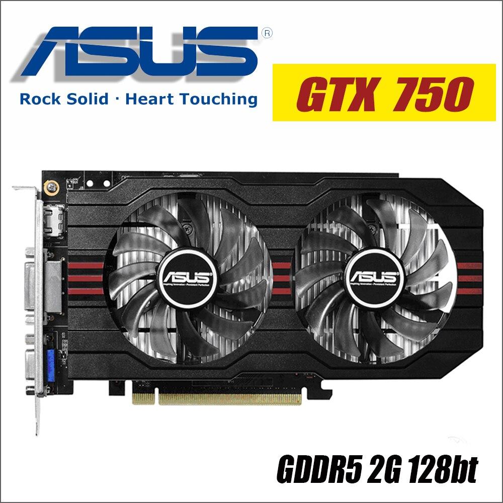 ASUS видео Графика карты используется оригинальный GTX 750 2 ГБ 128Bit GDDR5 видео карты для nVIDIA видеокартами Geforce GTX750 HDMI Dvi 1050