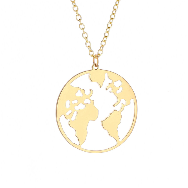 50pcs hot sale world map necklace jewelry round hollow world map 50pcs hot sale world map necklace jewelry round hollow world map necklace personalized fashion outdoor necklace gumiabroncs Gallery