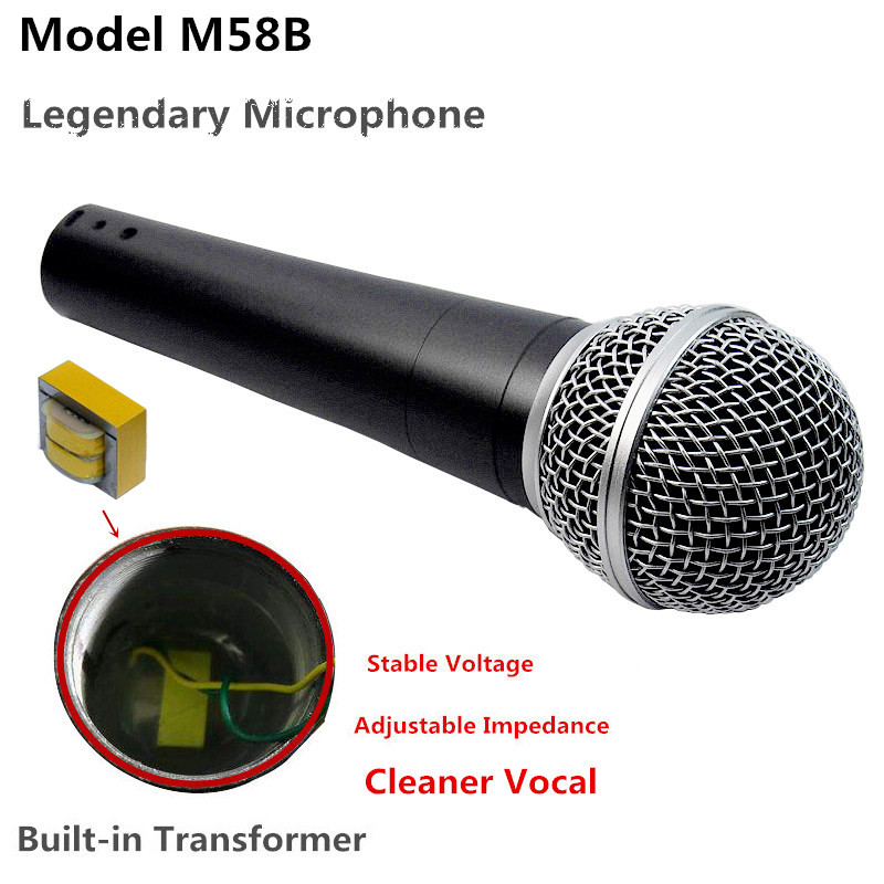 Finlemho Professional Microphone Karaoke Studio Recording Dynamic Mic Capsule Vocal Handheld Cordless SM58S For Home Studio