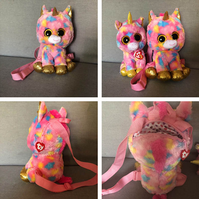a4a7bdb7efa Ty Gear Backpack Fantasia the Rainbow Unicorn Plush Stuffed Animal Bag  Collection Toy Knapsack with Heart Tag