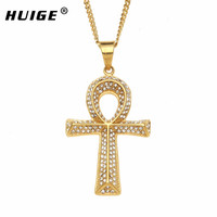 Ankh Cross Pendant Necklace Iced Out Rhinestone Hip Hop Gold Color Gift Of Eternal Life Egyptian