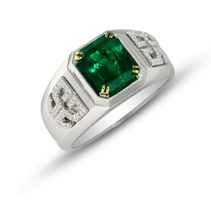 2017 Anillos Qi xuan_mode bijoux _boutique Cz vert homme Rings_S925 solide argent vert rings_fabricant directement ventes