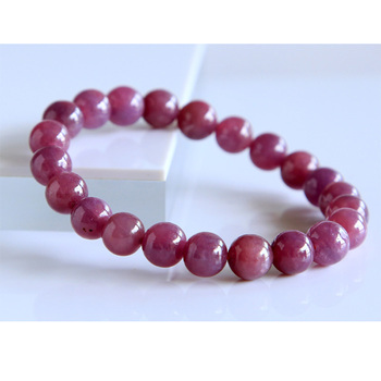 Бесплатная доставка Скидка Оптовая Продажа натуральный красный рубиновый браслет гладкие круглые бусины готовые тянущиеся браслеты 8,5 мм