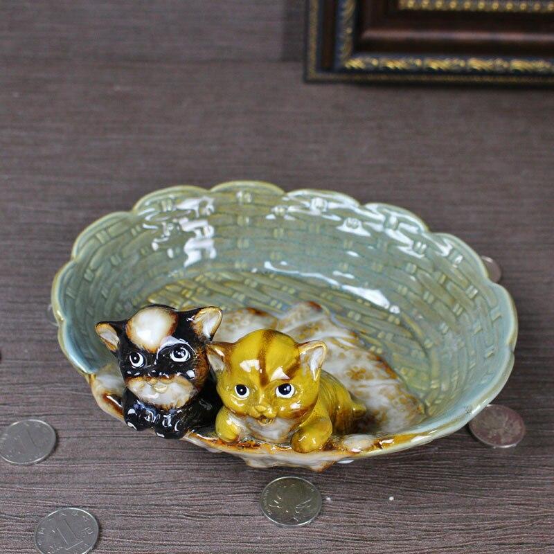 Mignon porcelaine Kitty Figurine plateau de rangement en céramique chat Miniature bijoux organisateur décor cadeau et artisanat ornement accessoires