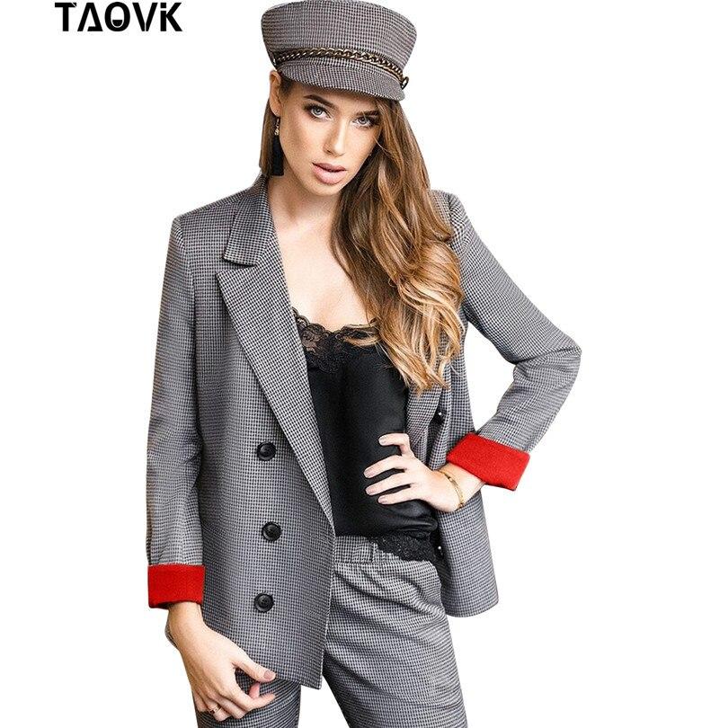 TAOVK клетчатые брючные костюмы женские костюмы комплект двубортный красный манжет Блейзер Куртка прямые брюки комплект из двух предметов оф...