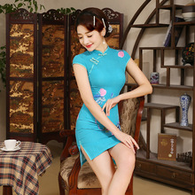 New Women Chinese Traditional Dress Female Short Evening Party Dress Silm Qipao Sleeve Summer Dress Chinese Ancient Dress 18