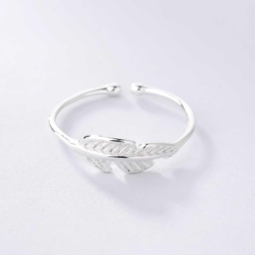 Retro Vintage liście roślin pierścienie kobiety Bohemia naturalny liść wzór otwarty Midi pierścienie Toe dla Feamle biżuteria srebrny pierścionek