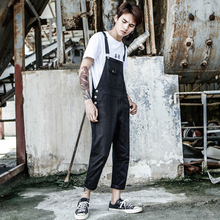 2019 New Solid color Bib Male tide Korean version of Wild Casual pants Elastic Nine pants Men's Slim feet More size S-XXXL 4XL