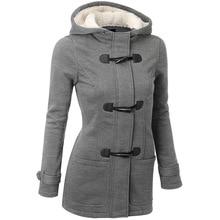 Women Trench Coat 2016 Autumn Winter Women's Overcoat Female Long Hooded wool blend Coat Zipper Horn Button Outwear