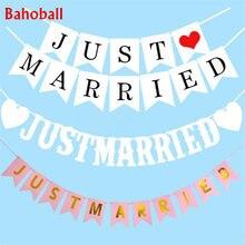 Cartel de papel Vintage Just Married con cinta de 3M, guirnalda de boda blanca, banderines románticos, accesorios de foto de boda, guirnalda para decoración de fiesta