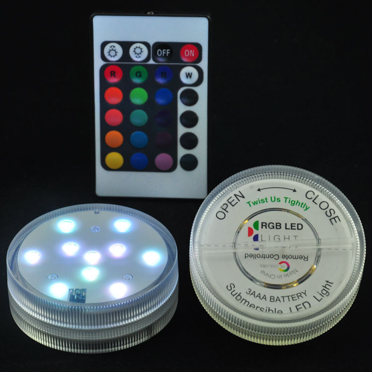 Free shipping 1pc Battery operated Remote control 16colors Submersible LED  light, LED vases base light