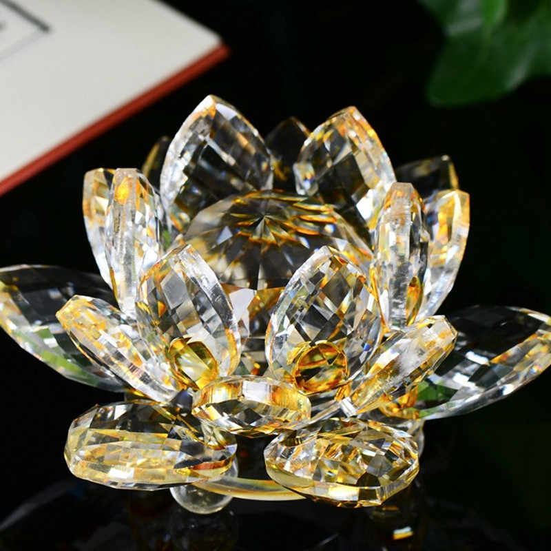 Lotus Crystal Glass Figure Paperweight Ornament Feng Shui Decor Collection Vintage Home Decoration Accessories Craft Figurine