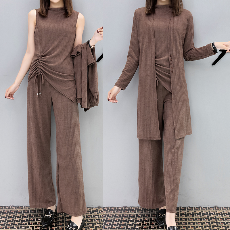 Tracksuit 2 Piece Set Women 3 Piece Pants Suits Long Top And Cardigan Plus Size Large Big Knitting Clothes Winter Autumn Elegant