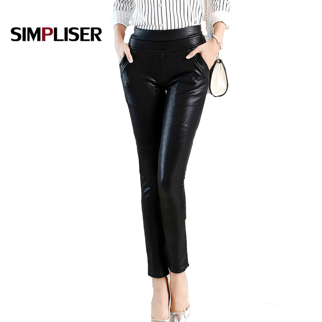 a96d8140469 Sexy Crocodile Pattern leather pants women plus size stretch faux leather trousers  ladies female black pencil pants 2019 Legging