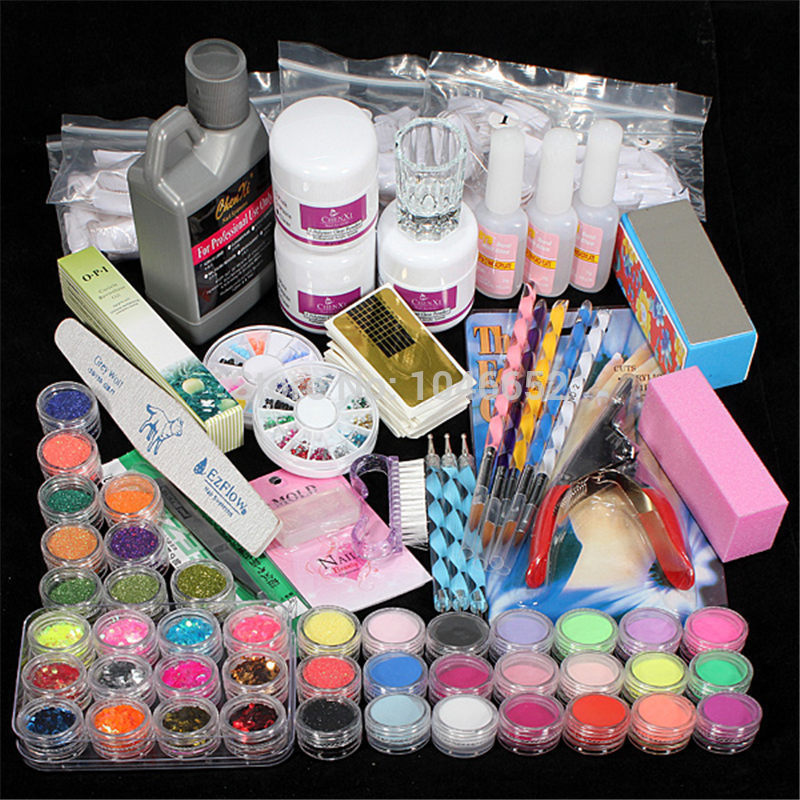 Professional 42 Acrylic Liquid Powder Glitter Clipper Primer File Nail Art Tips Tool Brush Tools Set