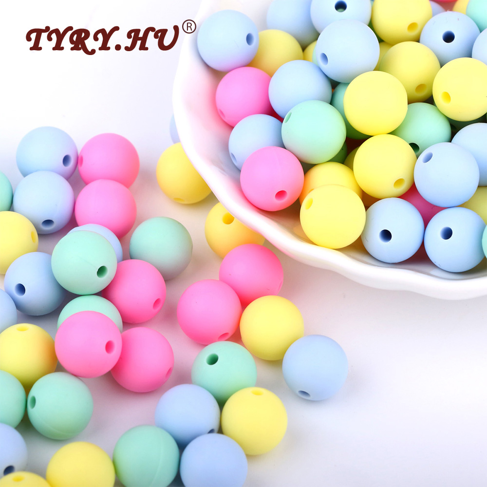 TYRY.HU BPA Free 12mm Baby Teething Beads 40Pcs Food Grade Silicone Beads Infants Tooth Nursing Toys For Charm Necklace Making