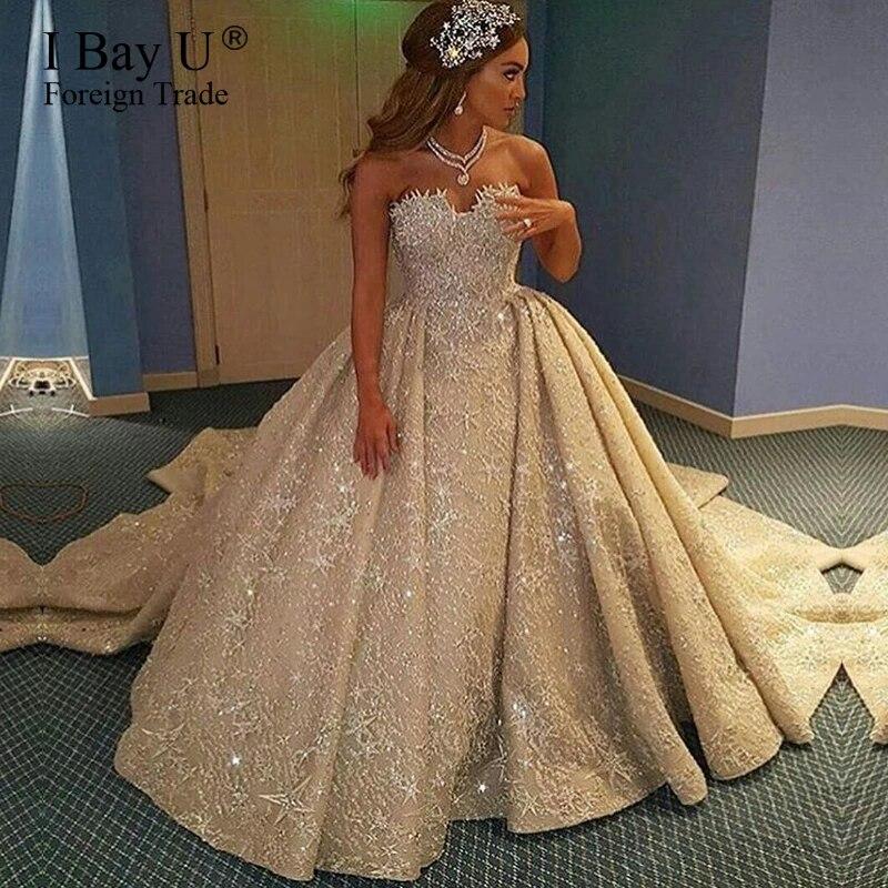 Robe De Mariee En Dentelle En Cristal Couleur Champagne Robe De Bal Luxueuse Epaules Denudees A Volants Modele 2020 Aliexpress