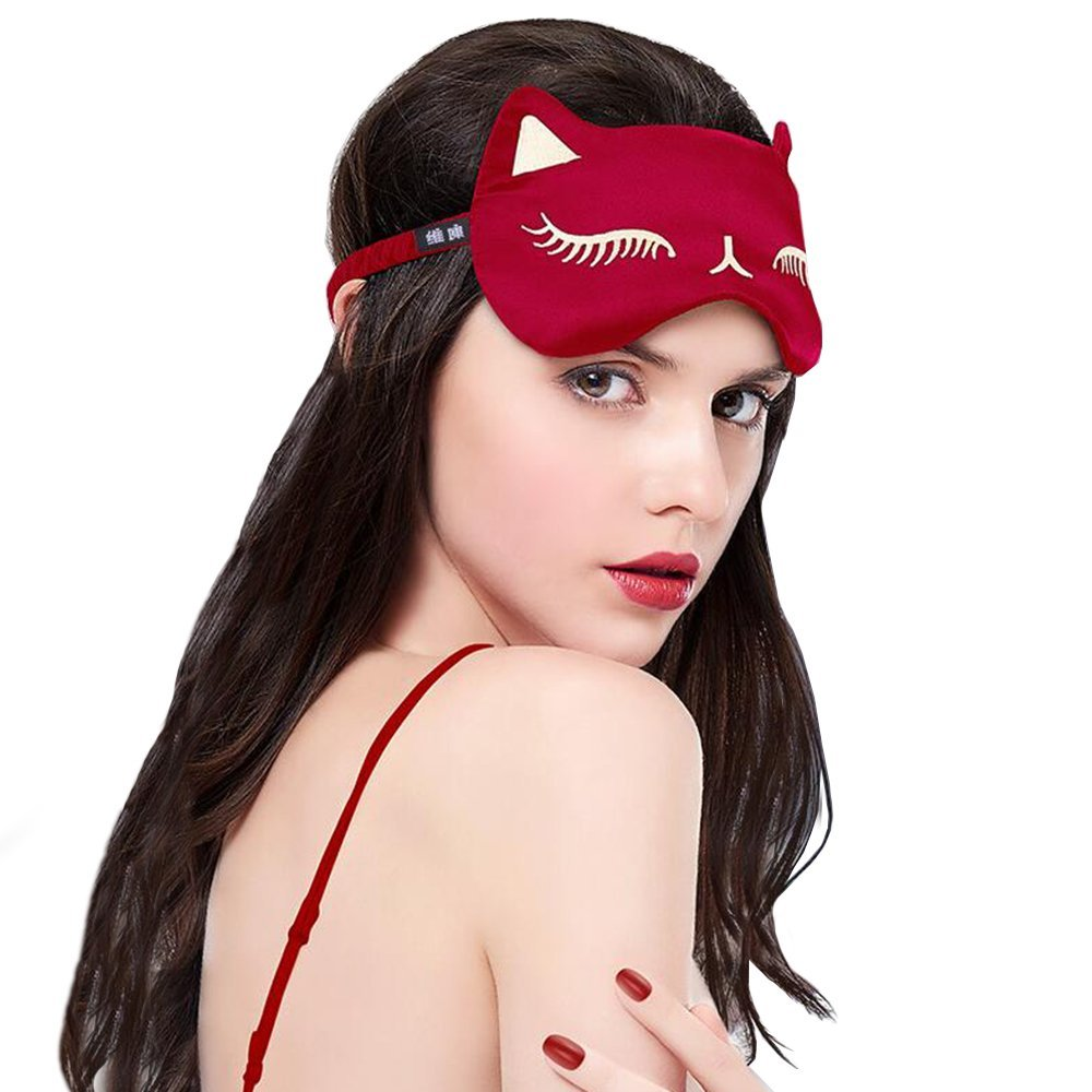 Sexy Cat sueño Natural máscara seda pura sombra resto dormir viajes blindfolds lisa y suave dormir parche en el ojo verano
