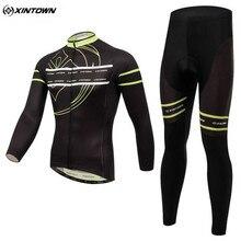 XINTOWN Men Long Sleeve Cycling Jersey Set Bicycle Cycling Clothing Black Maillot Sportswear Bike Riding Team Clothing CC0375