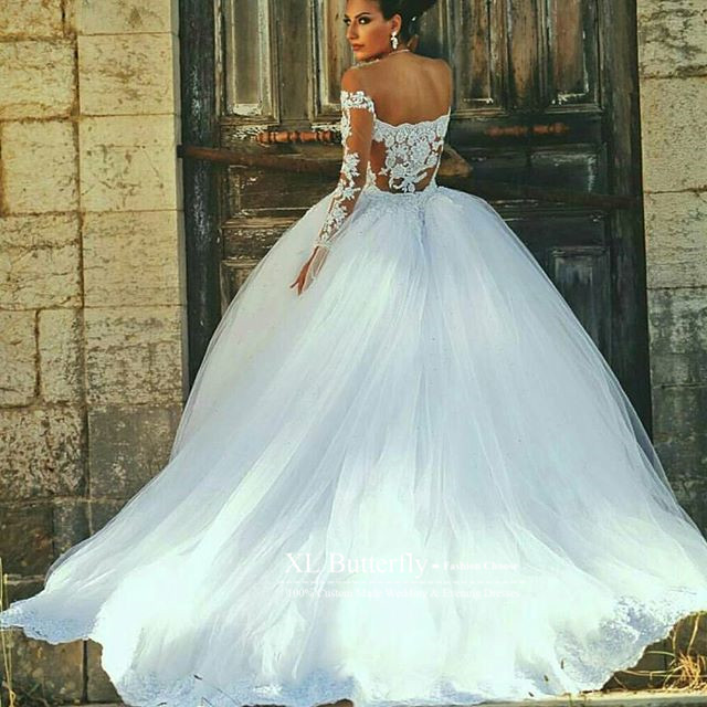 Vestidos de novia White Princess Bride Wedding dresses 2016 Beaded ...