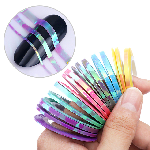 18 Rolls Mermaid Nail Stripe Tape Set Adhesive Sticker Candy Color