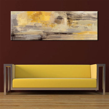 Posters and Prints Wall Art Canvas Painting, Modern Abstract Golden Yellow Posters Wall Art Pictures For Living Room Home Decor 2