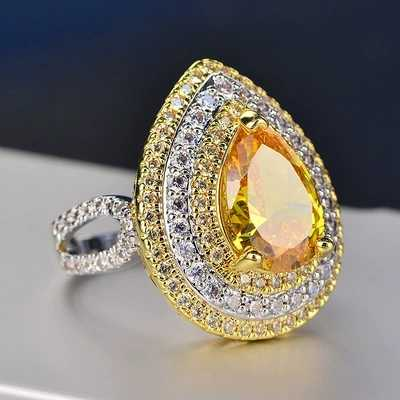 Water Drop Zircon สีเหลืองคริสตัลจากแหวน Exaggerate หญิง Citrine 12*9 มม.925 เงินเครื่องประดับของขวัญ