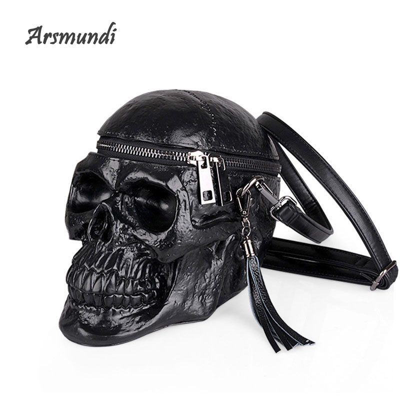 Arsmundi Originality Women Bag Funny Skeleton Head Handbag Single Shoulder Bag Fashion Designer Satchel Skull Messenger