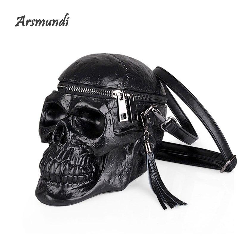 Arsmundi Originalité sac pour femme Drôle Squelette Tête Noir handbad Hommes Seul Paquet De Mode Designer Satchel Paquet Crâne Sacs