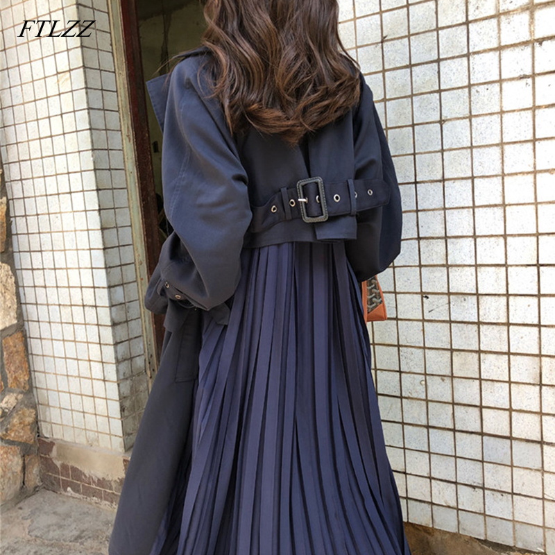 FTLZZ Women's Trench Coat Long Spring Coats Female 2019 Fashion Pleated Chiffon Splice Thin Outwear Loose Trench Coat For Women