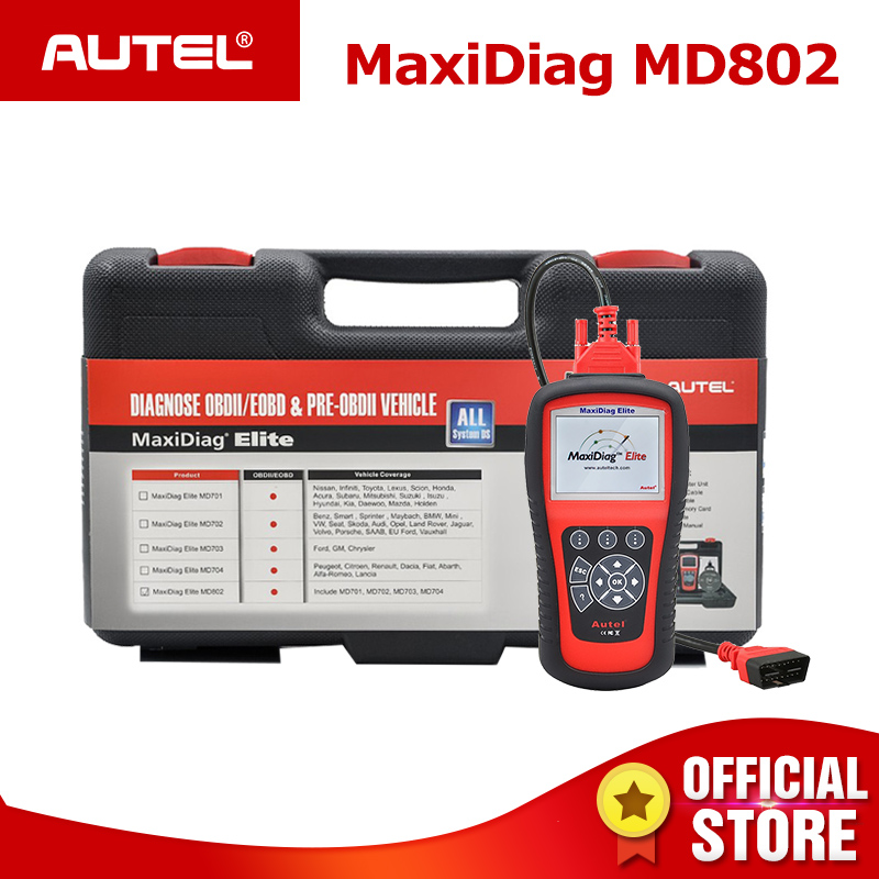 Autel MaxiDiag Elite MD802 Pro All Systems OBDII Car Auto Diagnostic Tool ODB2 OBD2 Scanner OBD 2 Code Reader PK Autel MD805