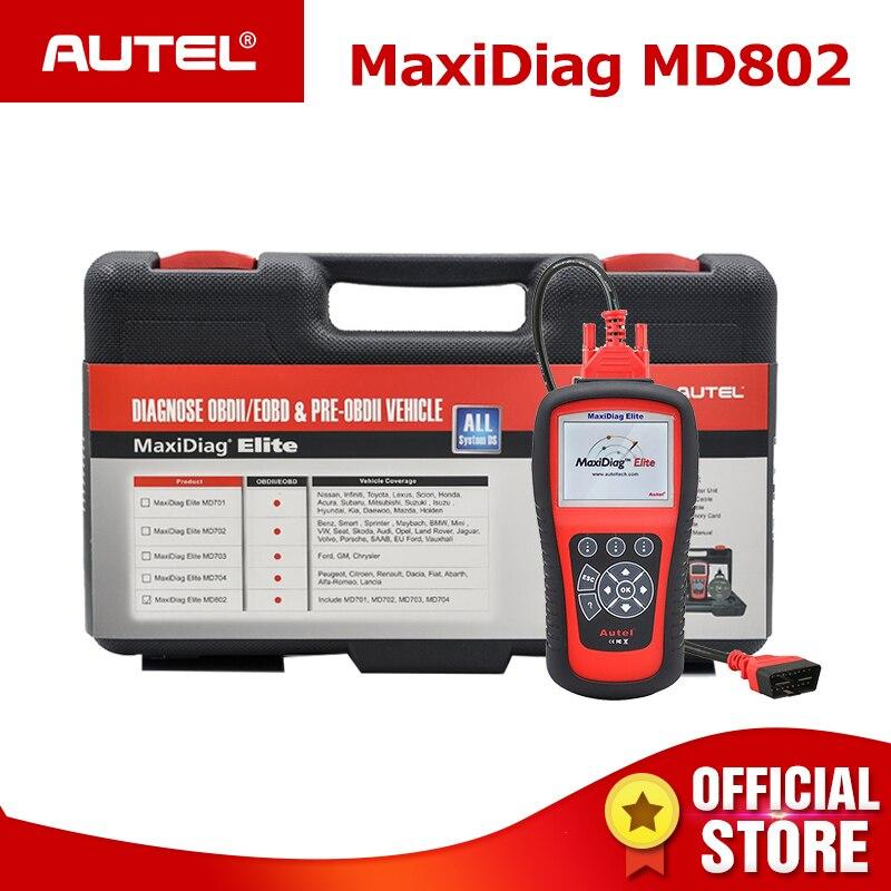 Autel MaxiDiag Elite MD802 Pro Todos Os Sistemas Do Carro OBDII Leitor de Código Scanner OBD Ferramenta de Diagnóstico Auto ODB2 OBD2 2 PK autel MD805