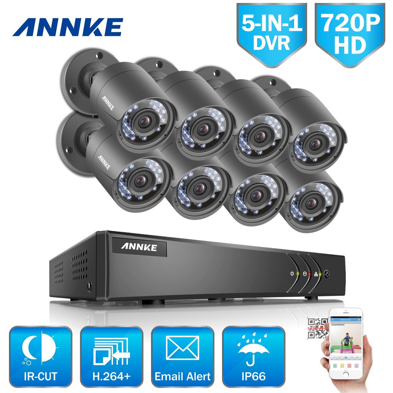 ANNKE 8CH Caméra de Sécurité Système 1080N DVR Réorganiser 8 Pcs HD 1280 TVL Extérieur CCTV Caméra Vidéo Surveillance Système 1 TB Dur Drive