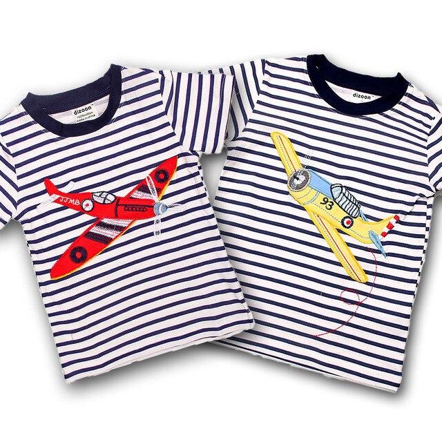86baa0890 Dizoon Cabritos de La Manga Corta de La Camiseta para Los Niños Rayados  Imprimir Avión Muchacho