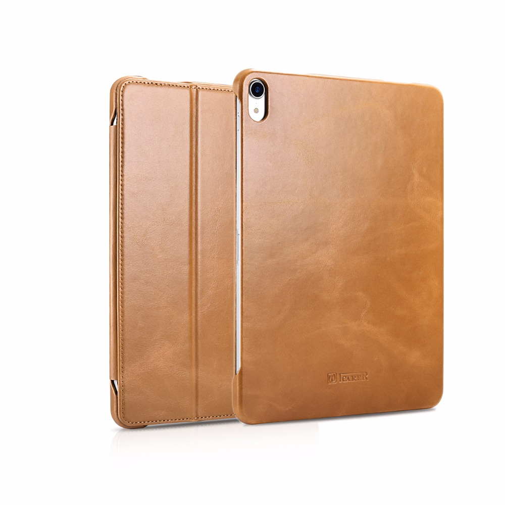 Icarer 4 Colors Vintage Genuine Leather Folio Case For iPad Pro 12 9 Retro Cowhide Leather