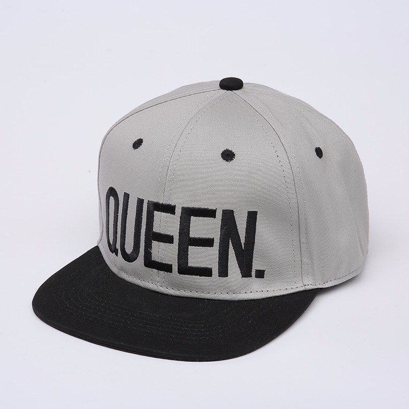 "Embroidered ""King and Queen"" Snapback Cap Set - Grey Queen Cap with Black Embroidery, Black Brim, Black Eyelets and Black Button Top"