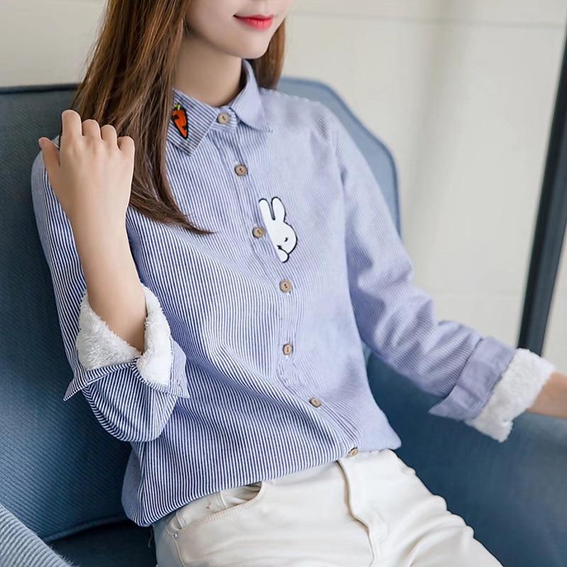 Top rosado Bordado Casual Blusa Conejo Fleece 2017 Otoño Camisas Moda Interior Azul Lindo De Cielo Nuevo Plaid Señora Mujeres Estilo Caliente npw7qR