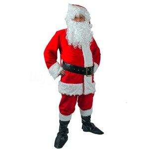 Image 3 - Adult Santa Claus Costume Suit Plush Father Fancy Clothes Xmas Cosplay Props Men Coat Pants Beard Belt Hat Christmas Set