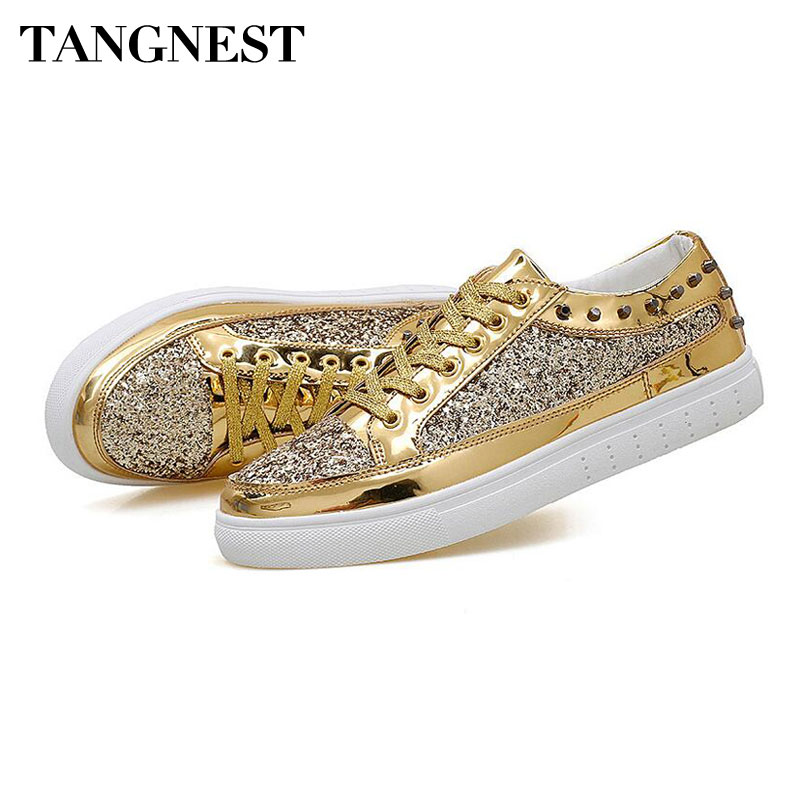 Tangnest NEW 2018 Glitter Men Sneakers Fashion Bling Lace Up Casual Shoes For Couples Men's Vulcanize Shoes Gold Sliver XMR2860