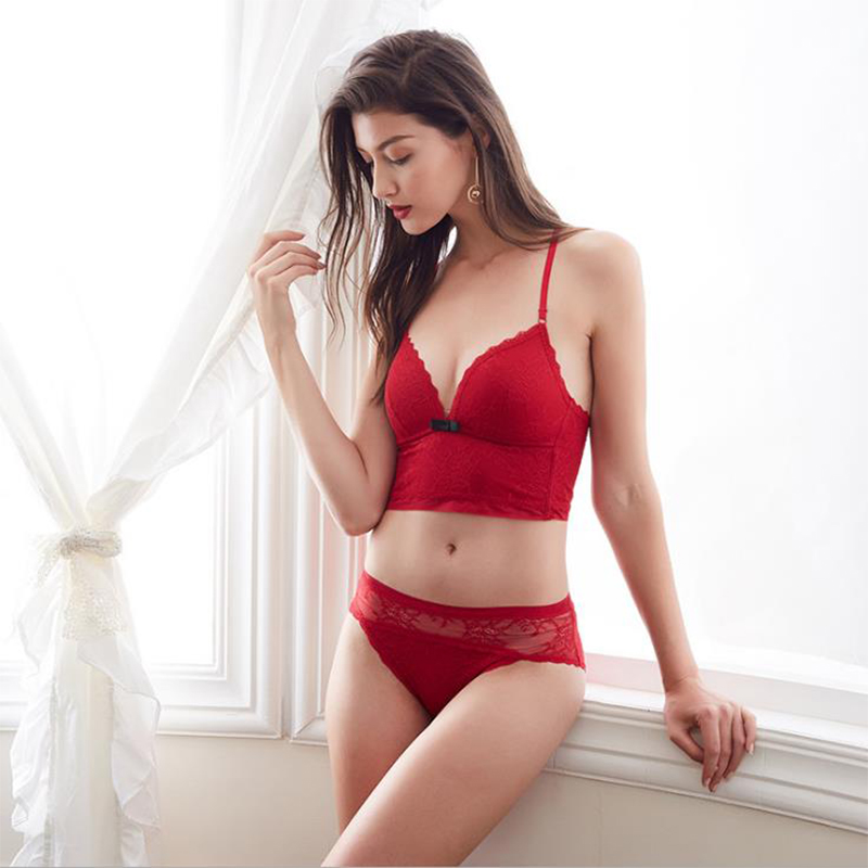Sexy Mousse Women Sexy Bra Set summer underware seamless None Closure Floral wire free full cup nylon Thin Mold Cup Vest type