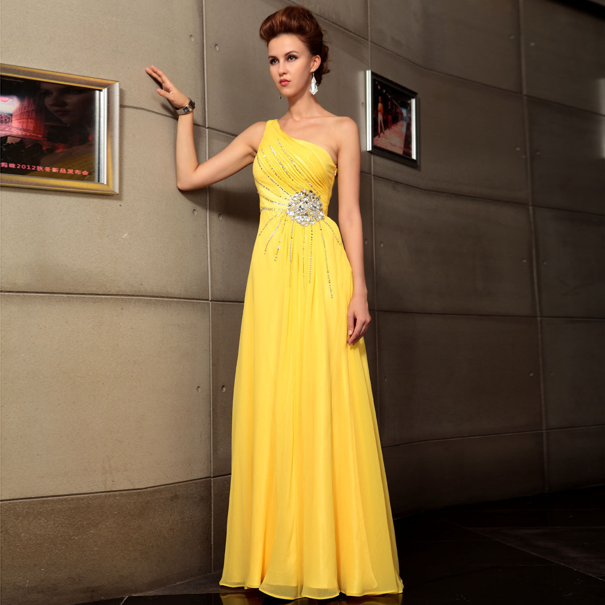 free shipping 2018 new yellow one shoulder elegant banquet fashion mopping the floor plus size rhinestones   bridesmaid     dress