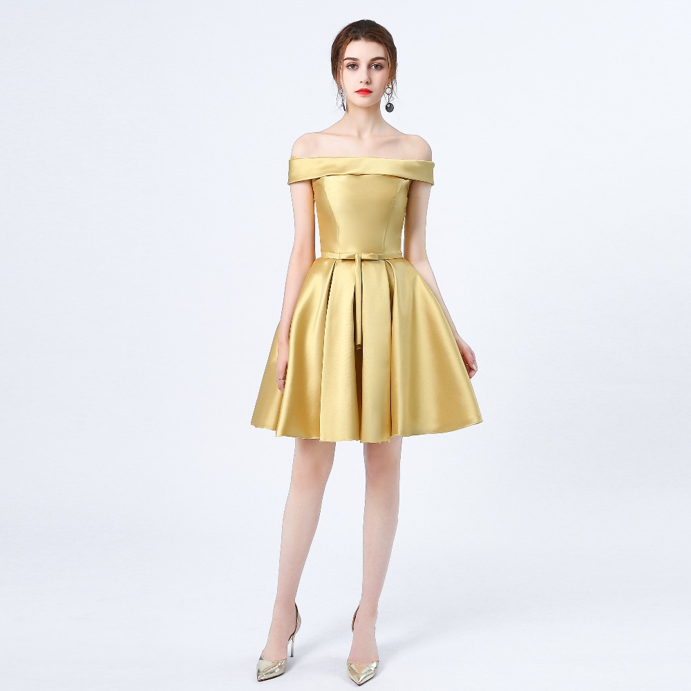 New arrival Gold prom dress short formal evening party dresses ...