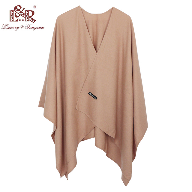 2020 140*140mm Winter Square female Poncho Cashmere Wool Women Poncho Scarf  Solid Foulard Femme Pashmina Shawl Winter Excharpe 3