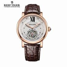 Reef Tiger/RT Casual Designer Watch for Men Tourbillon Automatic Watch with Blue Crystal Crown Alligator Strap Watches RGA192