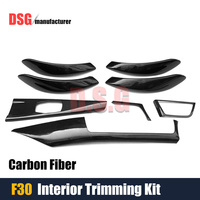 F30 Carbon fiber interior trimming 8 pcs / 1 set door handle dashboard cover for BMW F30 3 series GT f34